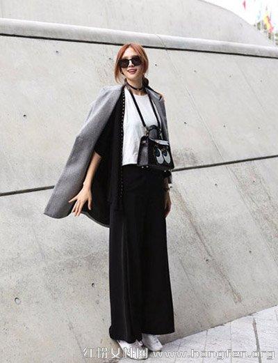 白色打底衫+黑色开衫+灰色翻领呢子大衣+黑色高腰